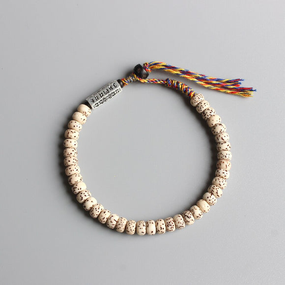 Daemonorops Margaritae's Seeds Bracelet with Hand Braided Cotton