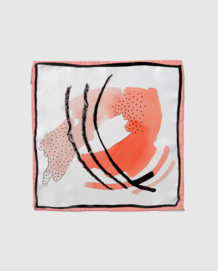 Peach Abstract Print Silk Scarf - OFIR IVGI