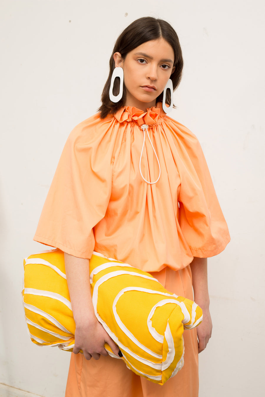 Peach Ruffle Collar Dress - OFIR IVGI