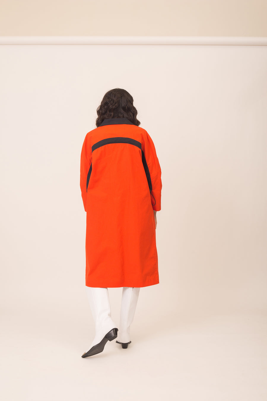 Line orange tailored coat