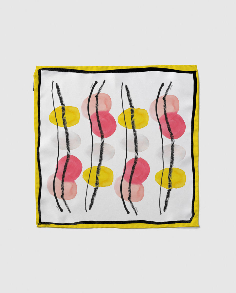 Yellow abstract painting silke scarf