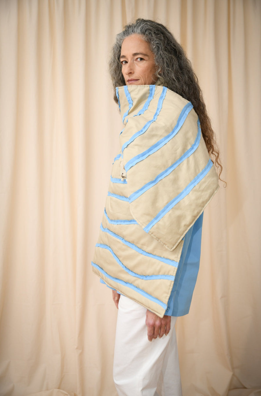 Beige And Light Blue Padded Shawl - OFIR IVGI