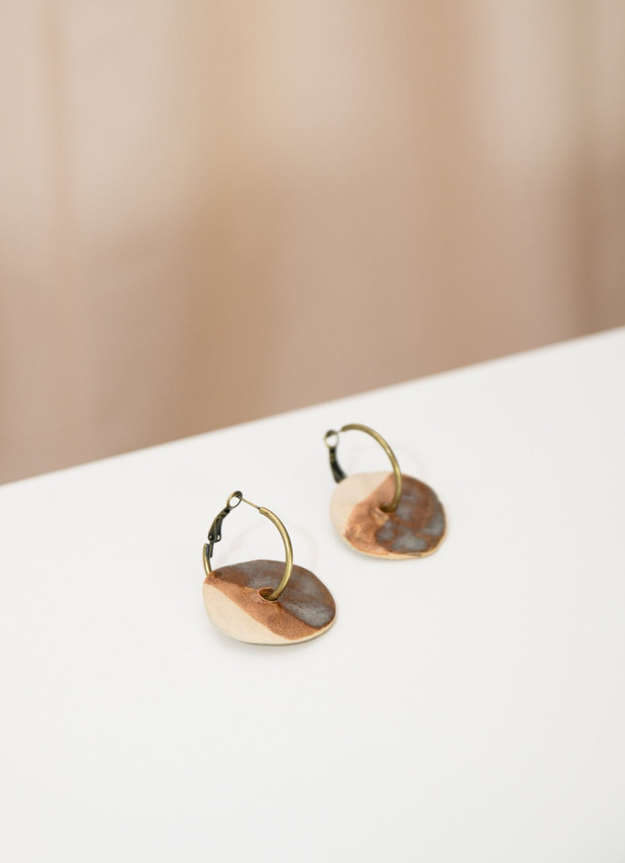 Brown Round Shape Hoop Earrings - OFIR IVGI