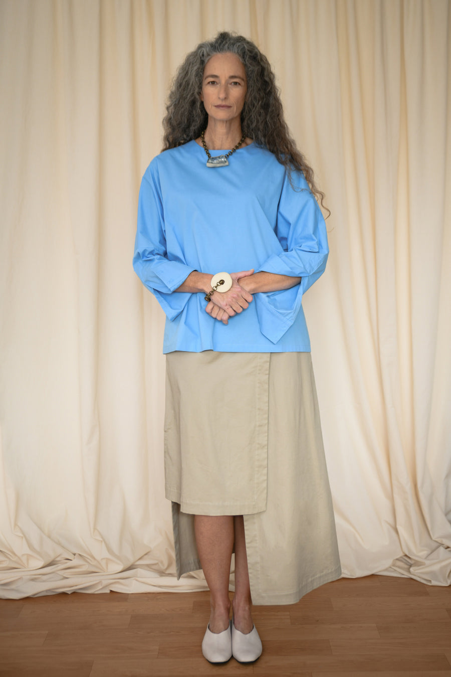 Light Blue Kimono Sleeves Blouse - OFIR IVGI