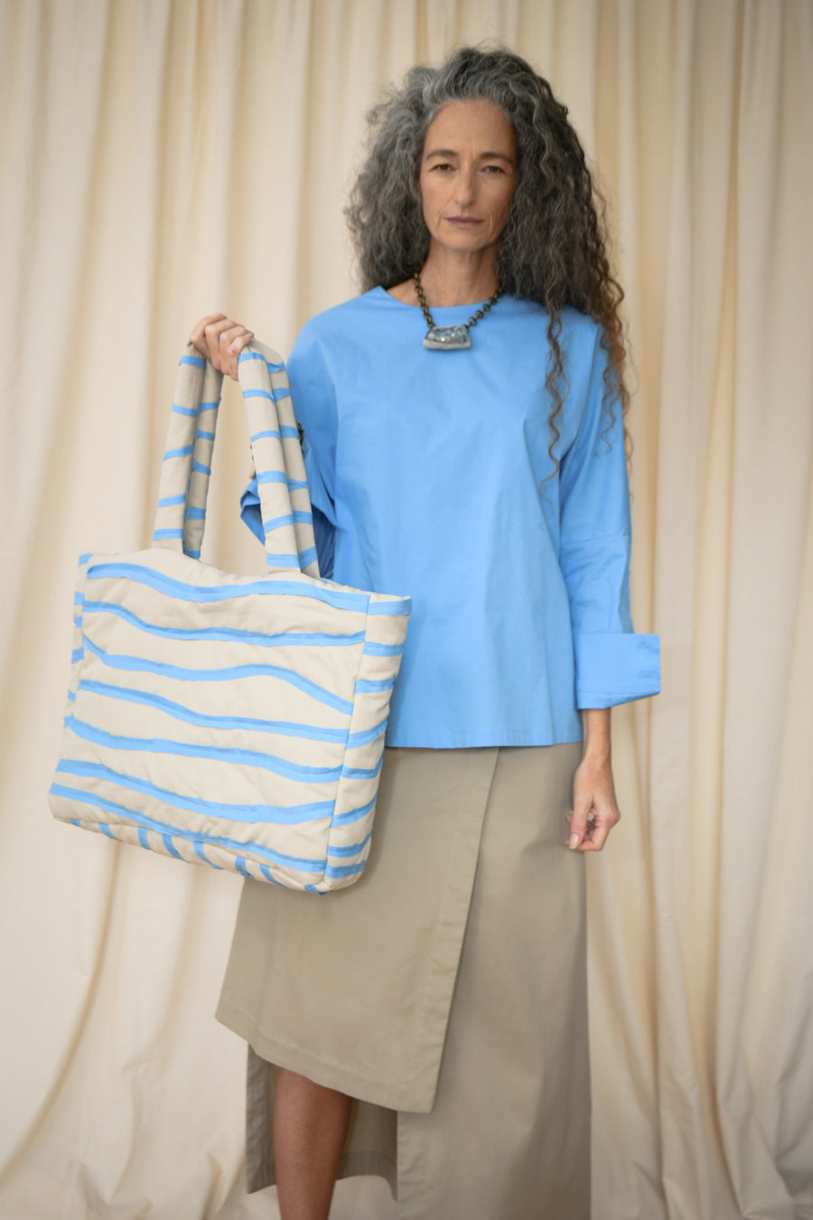 Beige And Light Blue Pillow Bag - OFIR IVGI
