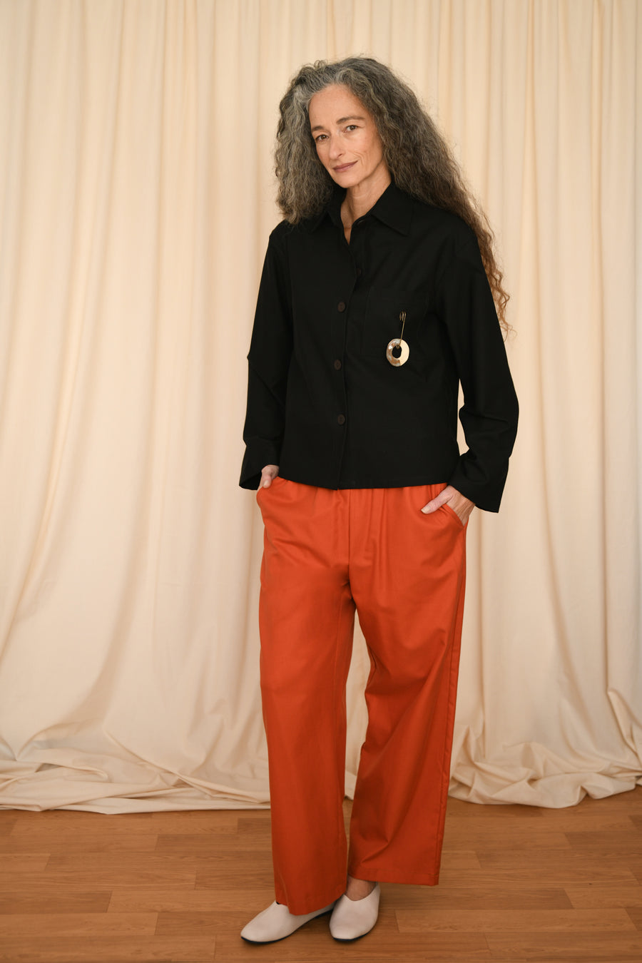 Terracotta Rubber Baggy Pants - OFIR IVGI