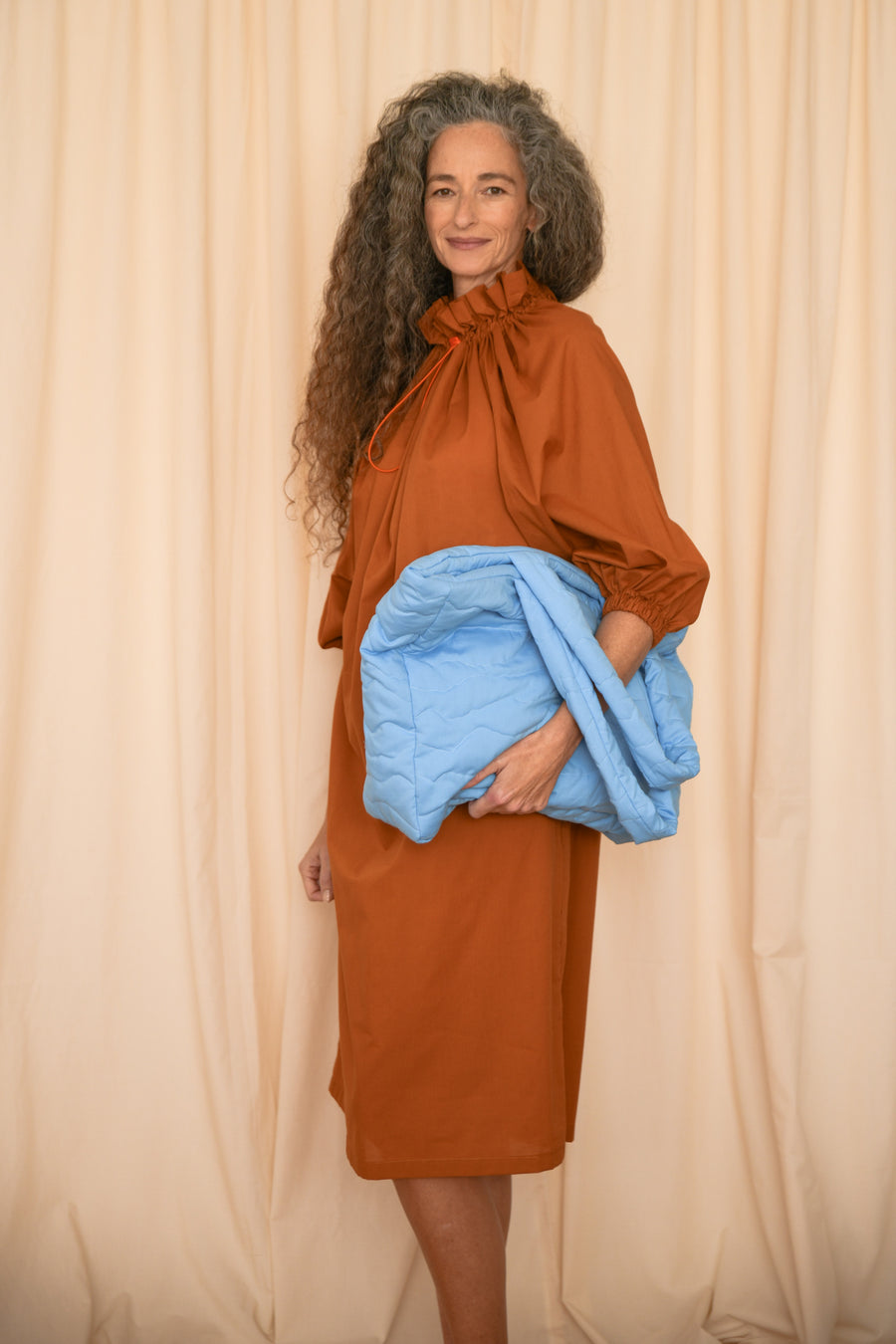 Terracotta Ruffle Collar Dress - OFIR IVGI