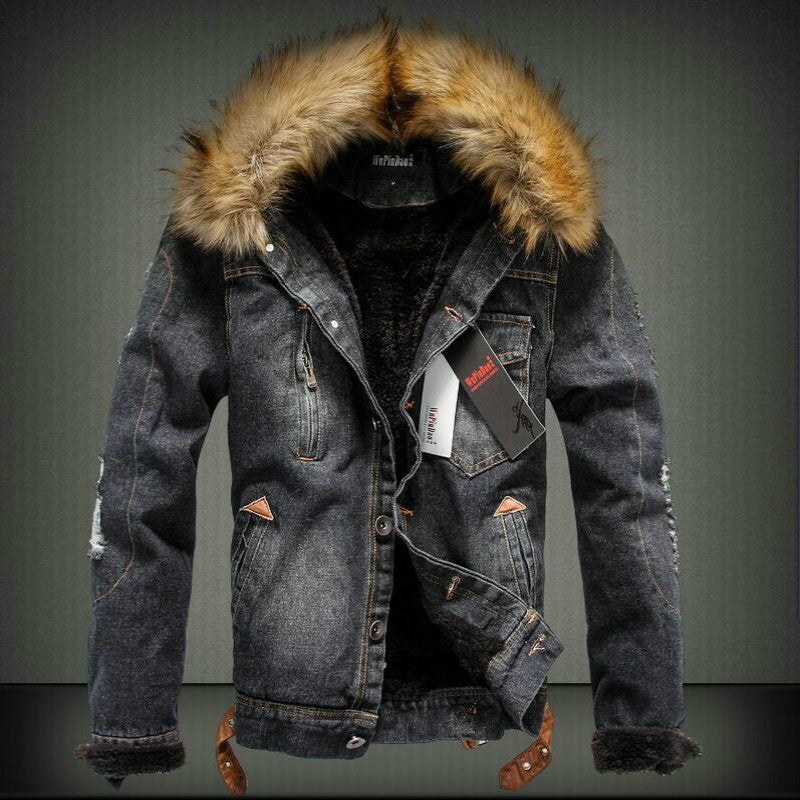 Retro Winter Jeansjacke mit Fell