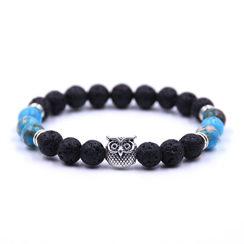Fashion New Owl Natural Stone Beads Bracelet