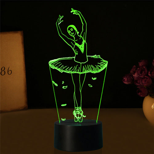 3D LED NIGHT LAMP - LADY BALLERINA