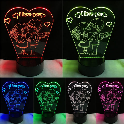 3D LED NIGHT LAMP - KISS