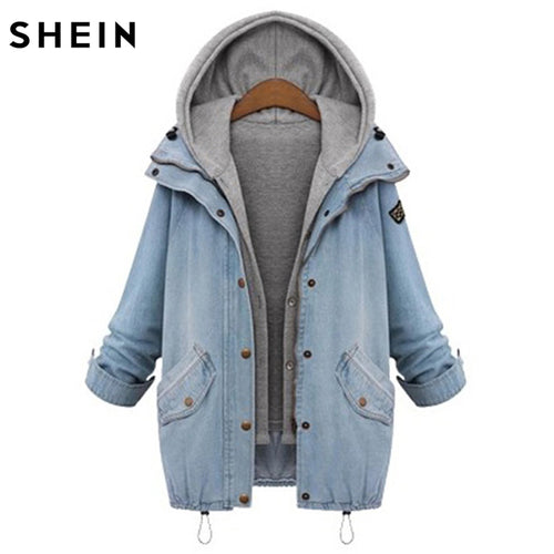 Blue Denim Jacket Hooded Boyfriend