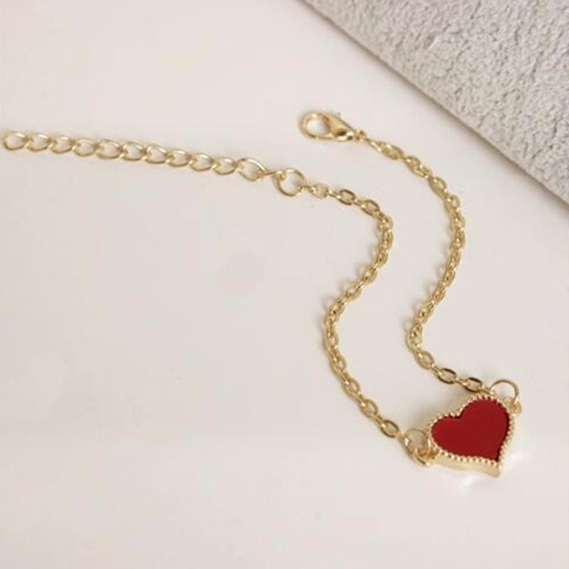 Fashion Red Love Heart Metal Bracelets