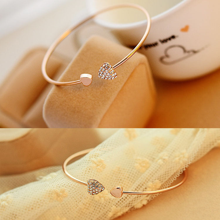 Fashion Crystal Double Heart Bow