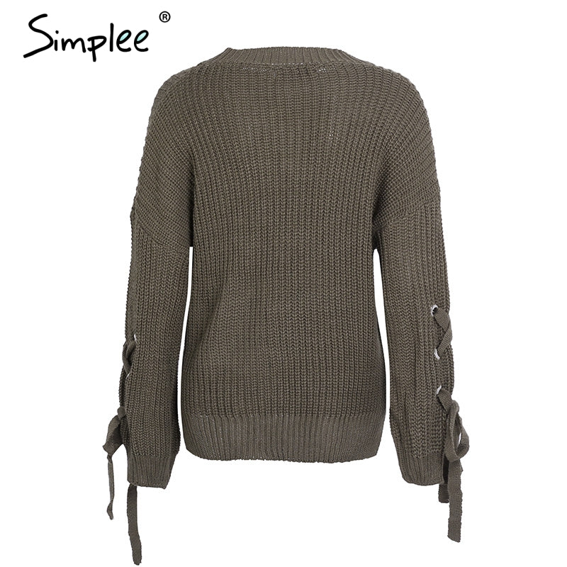 """Lace up"" Strickpullover Casual"
