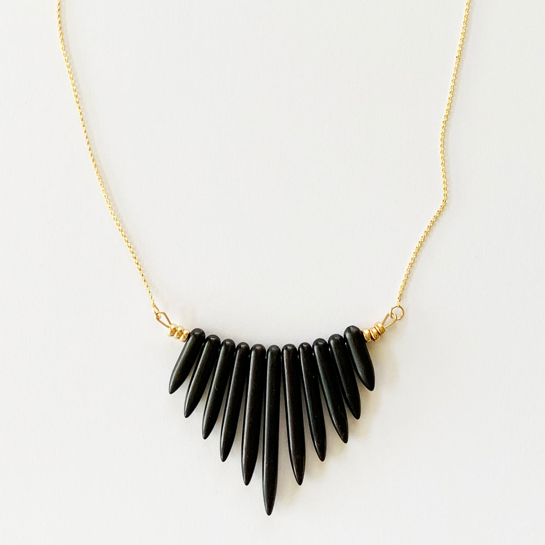 NAYLA black howlite statement spike necklace