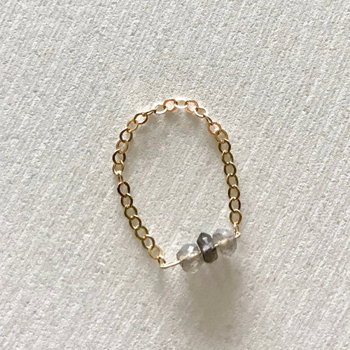 DAINTY chain mixed stone ring