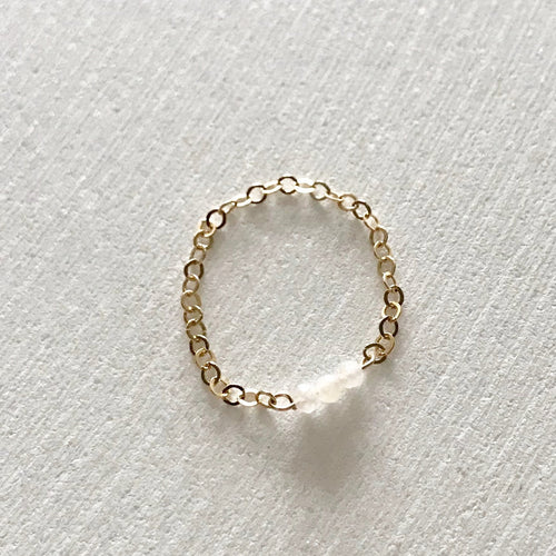 DAINTY chain moonstone ring