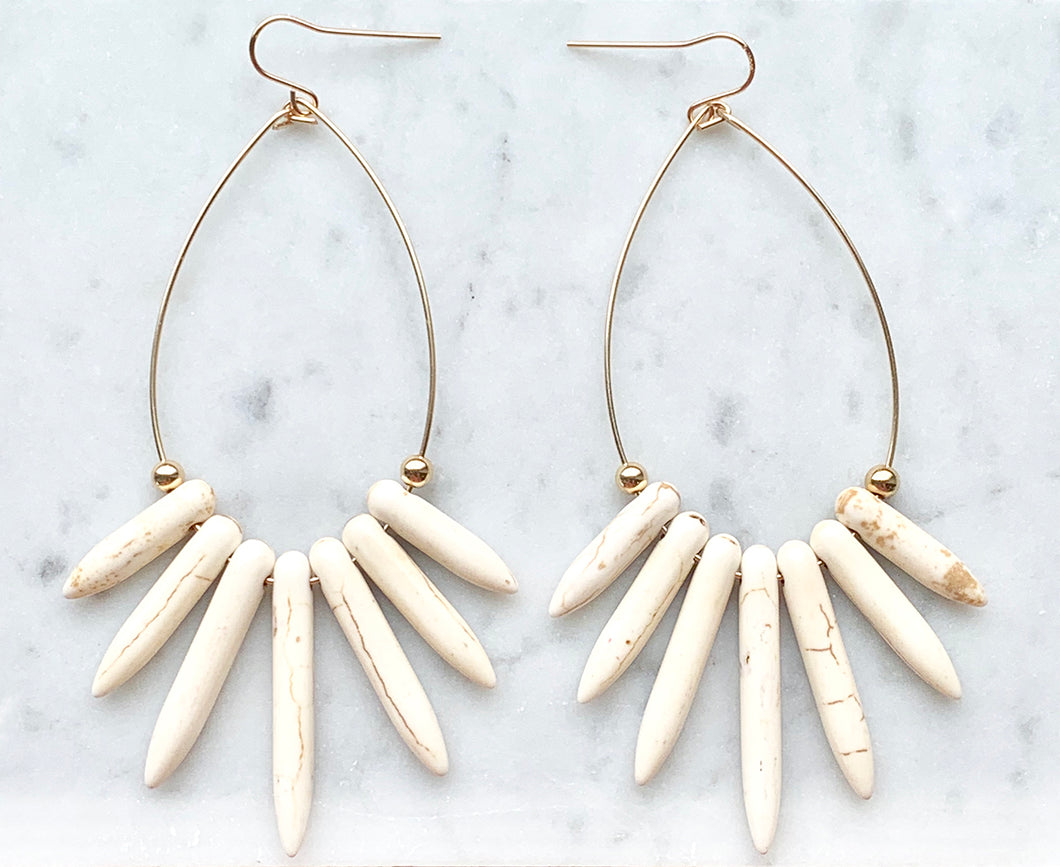 NAYLA white howlite statement earrings