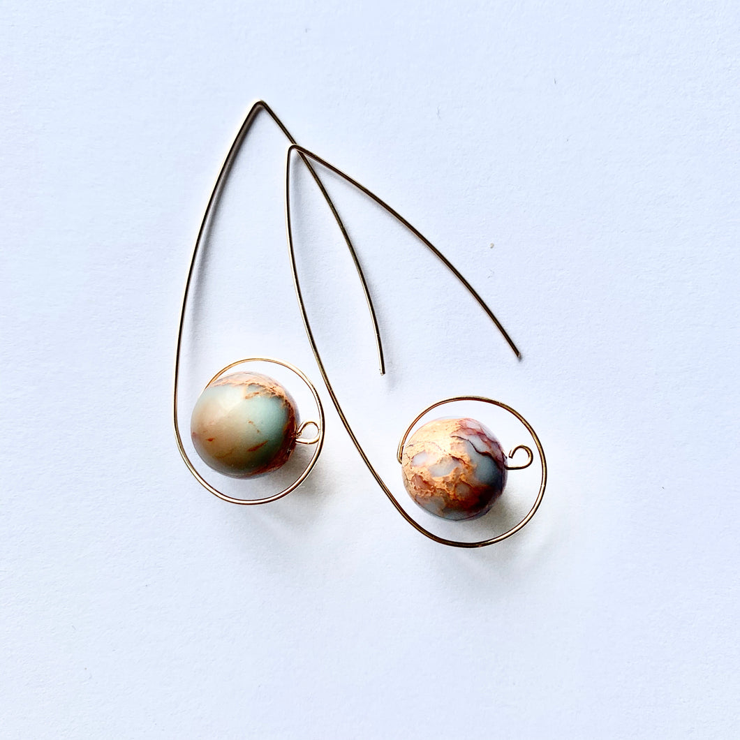 JACKIE loop earrings - sm aqua terra jasper