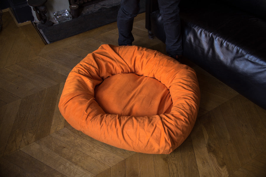 orange oval dog bed with covers