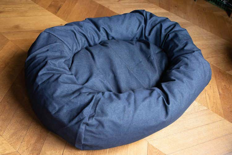 large denim dog bed