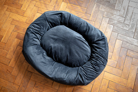 black corduroy dog bed