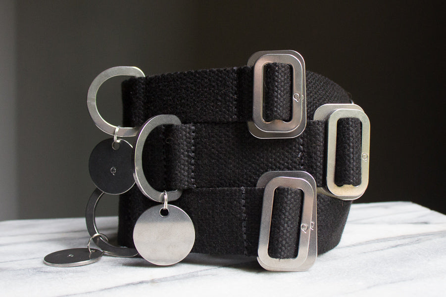black cotton dog collars