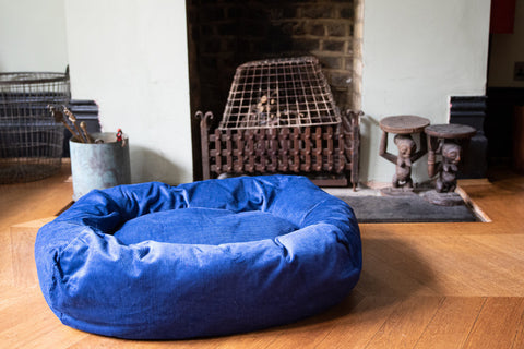 blue cord dog bed