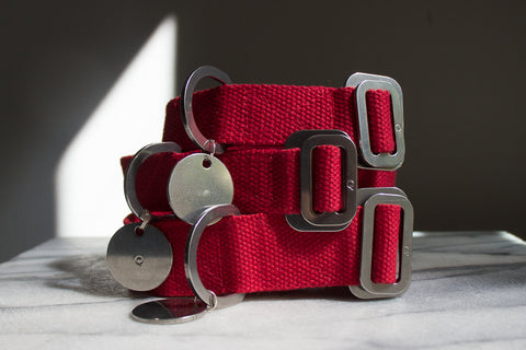 red cotton fabric dog collars