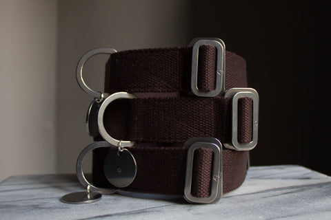 brown cotton fabric dog collars