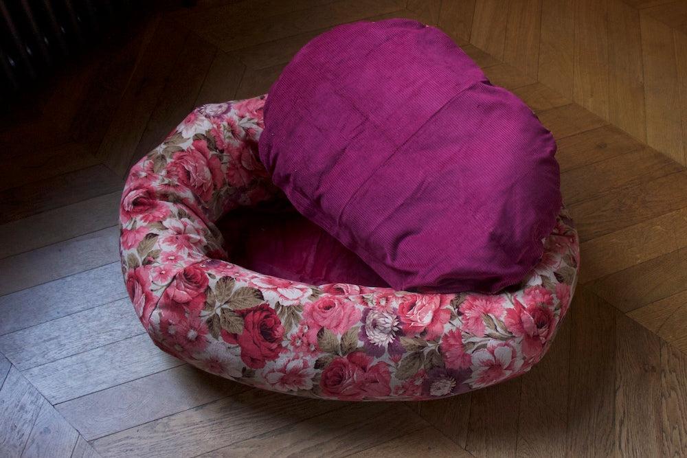 floral dog bed with removable cover