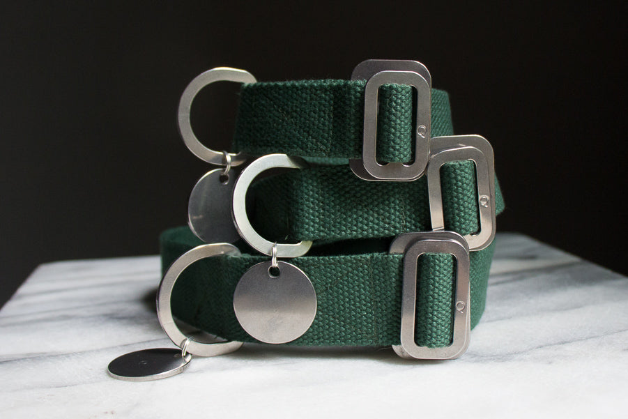 green cotton fabric dog collars