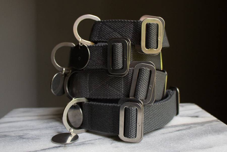 grey cotton dog collars