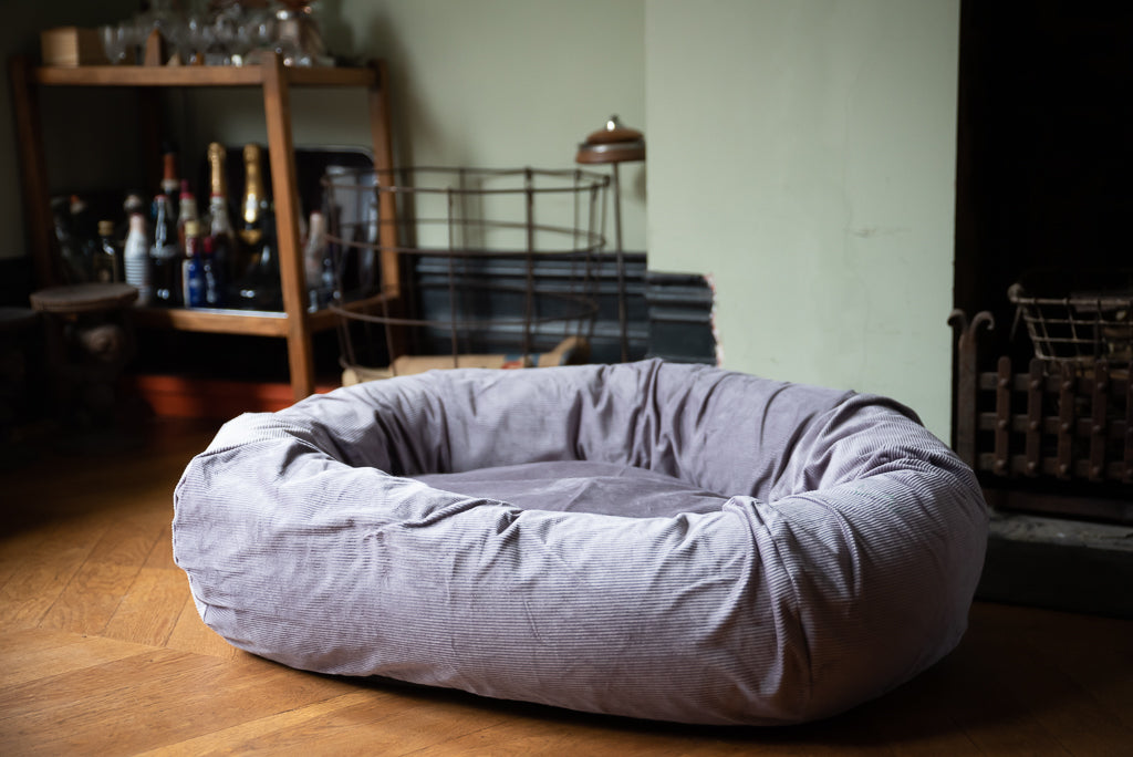 grey corduroy dog bed