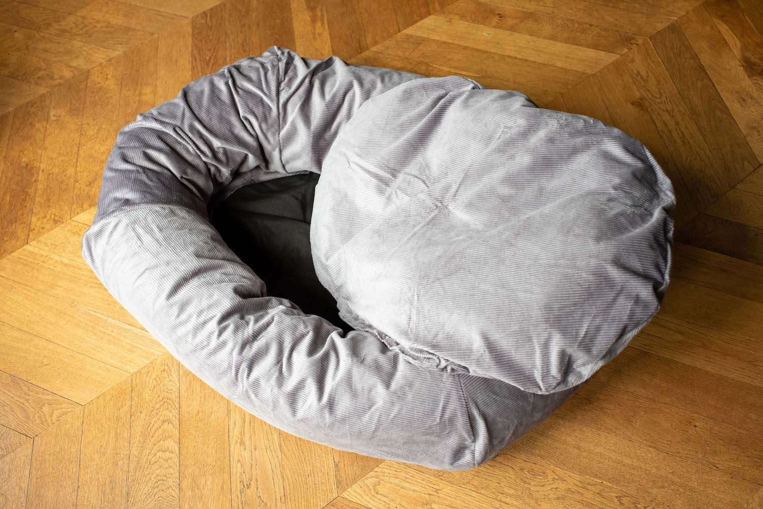 grey dog bed with washable cover
