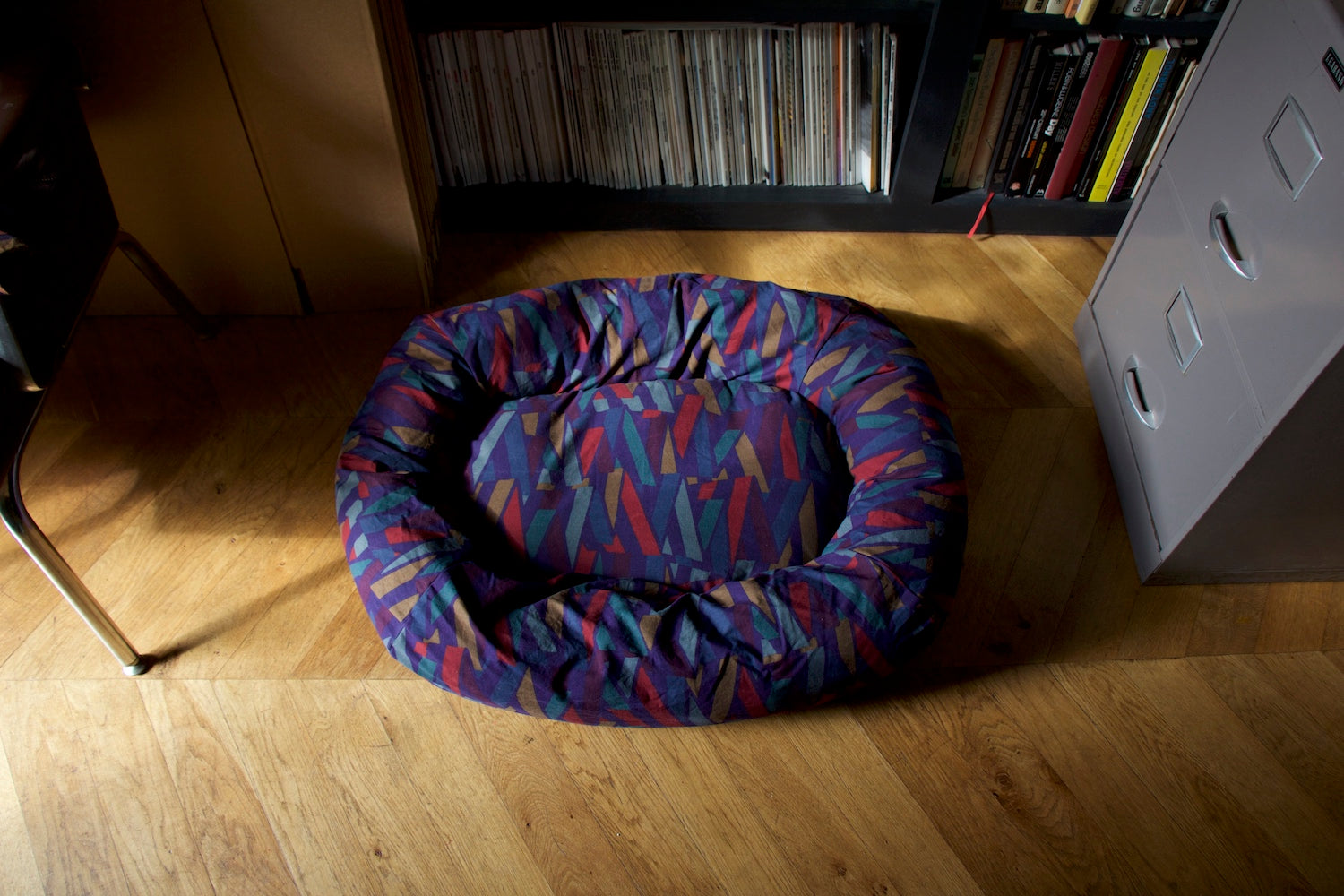 patterned dog bed