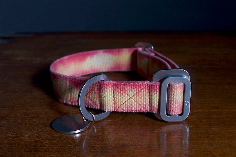 red and yellow tie dye collar