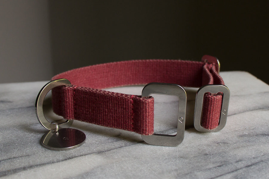 small washable red dog collar with steel