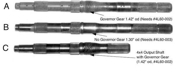 Size of Reluctor Ring Depends on Governor Gear(4L60-002) or No Governor Gear (4L60-003)