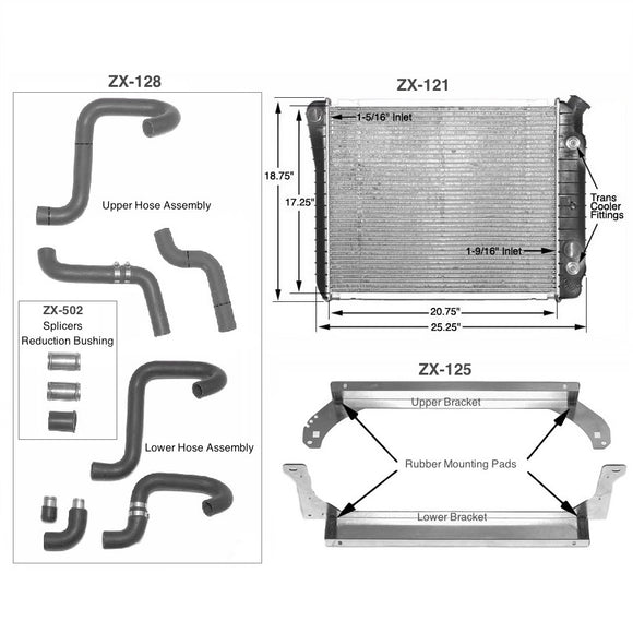 Aluminum Radiator Kit for 1979–1983 Datsun 280 ZX V6 Cooling Kit - V8 Swaps by JTR Stealth