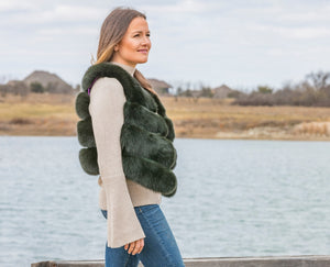 C&B Furs Emerald Green Fur Plush Vest