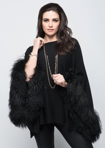 C&B Furs black cashmere poncho with tibetan sheep in black