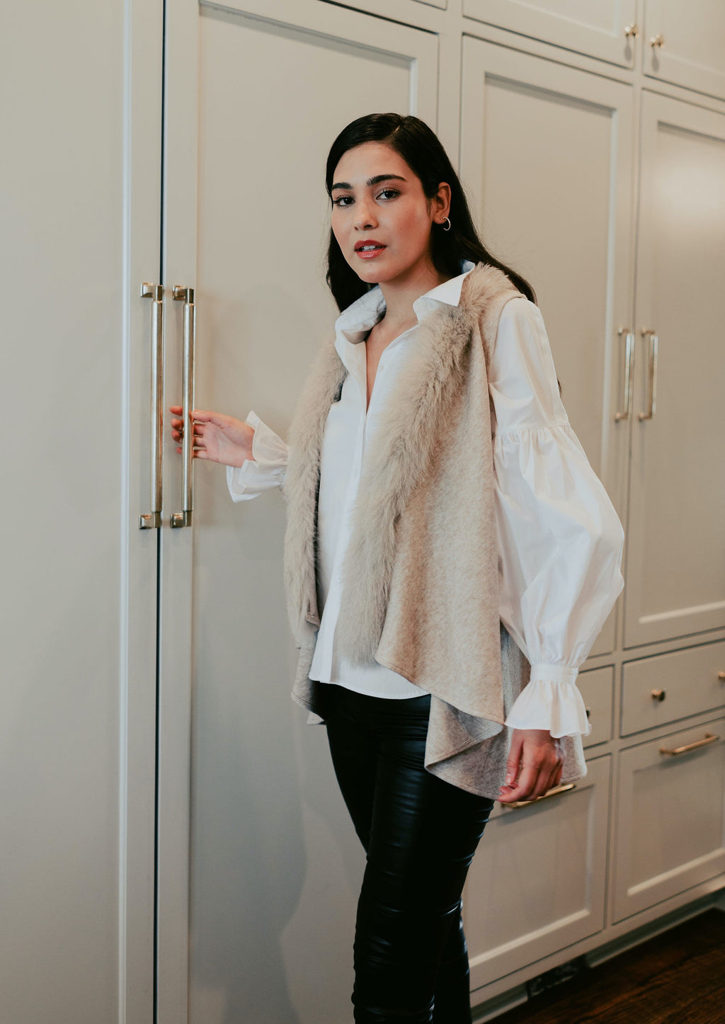 Wool Jersey Knit Swing Vest with Fox Fur