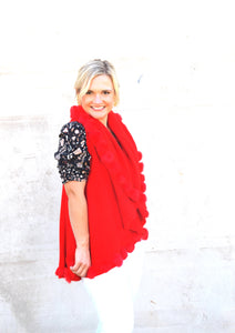 Woman smiling, wearing C&B Furs Bright Red Rex Rabbit Cotton Blend Vest
