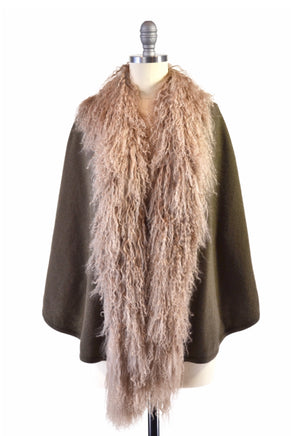 C&B Furs Olive Green Cashmere Cape with Tibetan Sheep Trim