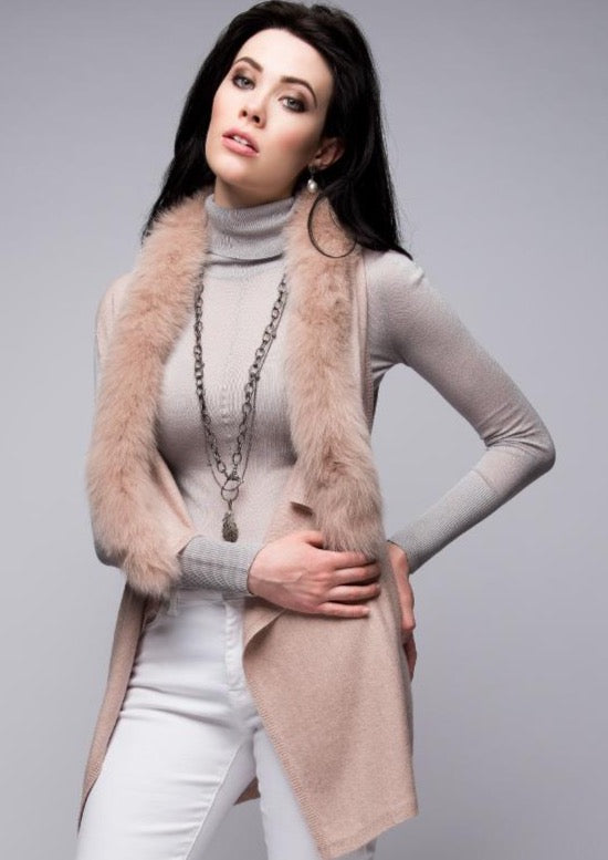 C&B Furs Blush Gilet Vest with Fox Fur Trim by Aspen True