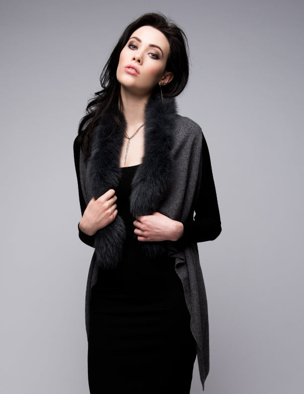 C&B Furs Cashmere Gilet with Fox Fur Trim