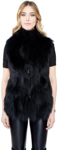 C&B Furs Full Fox Fur Black Zip Up Vest