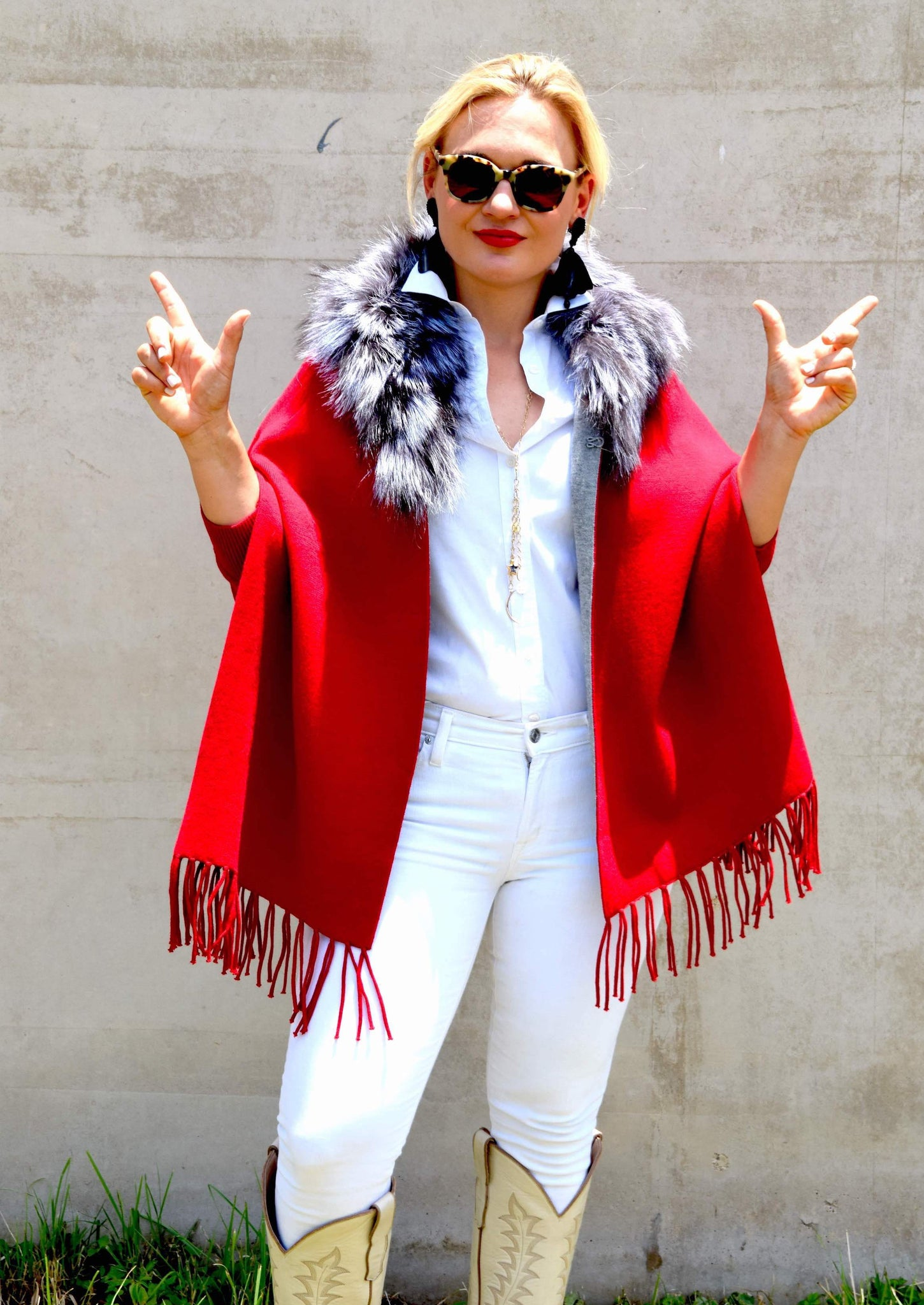 Woman wearing C&B Furs Red two-tone shawl with full silver collar
